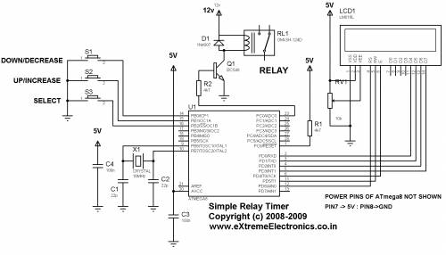В таймере используется микроконтроллер ATmega8 фирмы Atmel и стандартный LCD дисплей 16x2 на базе контролера HD44780...