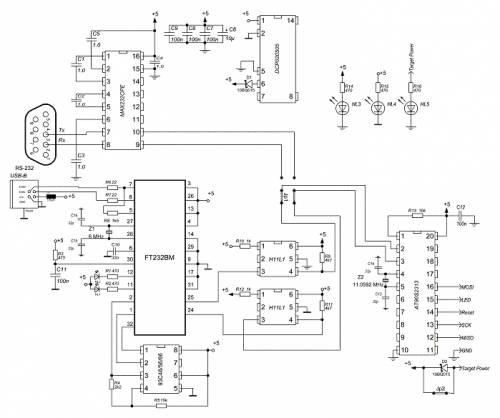 Схема программатора AVR910 с